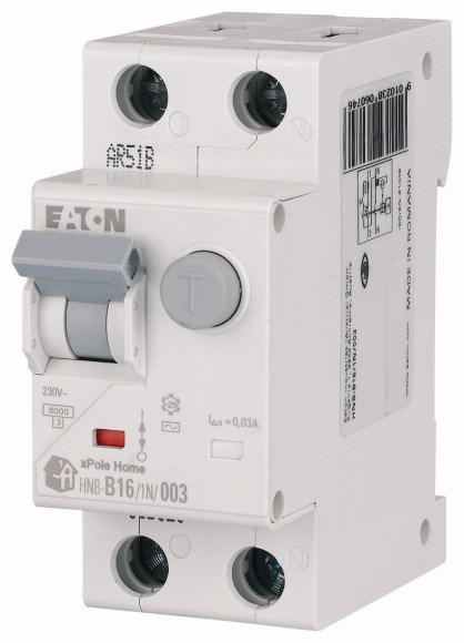 Выключатель автоматический дифференциального тока 2п (1P+N) C 16А 30мА тип AC 6кА HNB-16/1N/C/003 2мод. EATON 195127