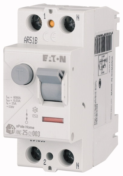 Выключатель дифференциального тока (УЗО) 2п 25А 30мА тип AC 6кА HNC-25/2/003 2мод. EATON 194690